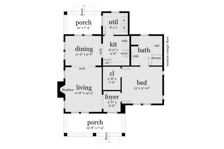 Craftsman House Plan - Reunion Cottage 98331 - 1st Floor Plan