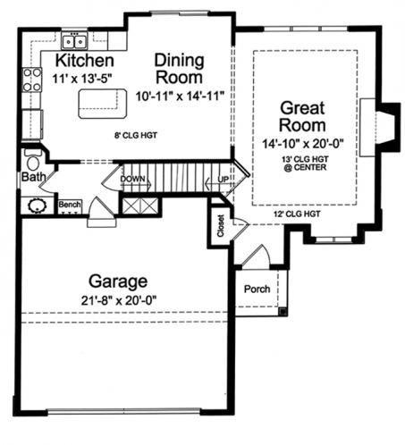 Cottage House Plan - Cottage Grove 98378 - 1st Floor Plan