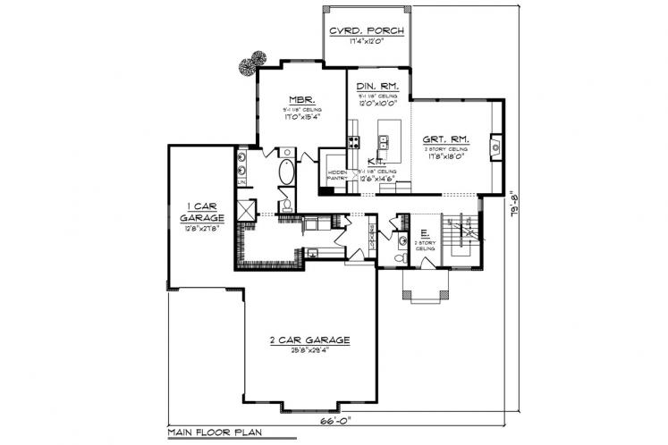 Contemporary House Plan -  98399 - 1st Floor Plan