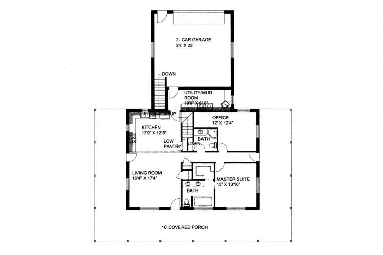 Traditional House Plan -  98455 - 1st Floor Plan
