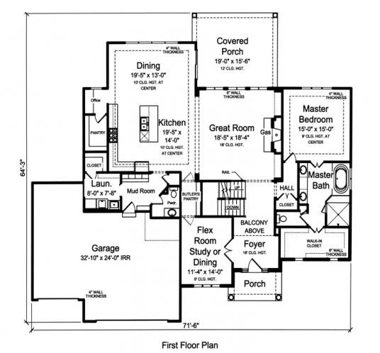Country House Plan - The Greenbriar 99069 - 1st Floor Plan