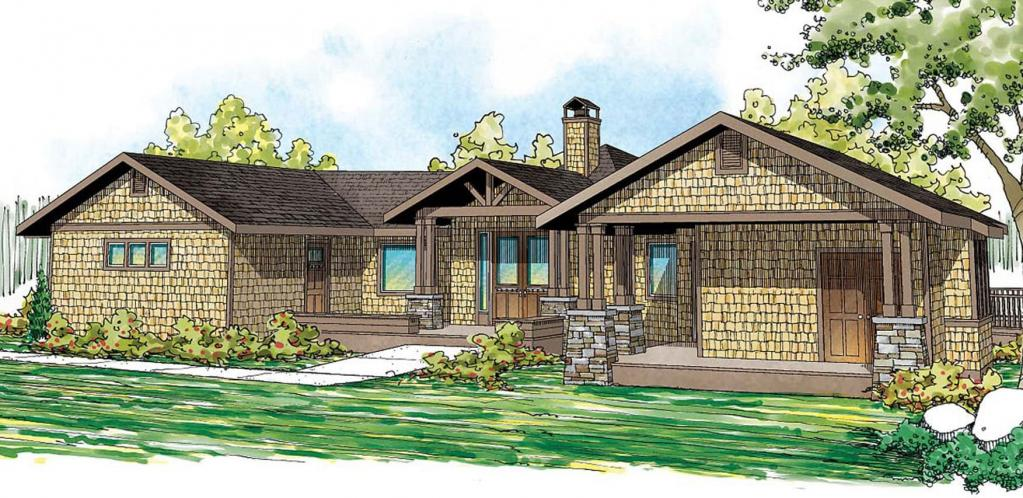 Lodge Style House Plan - Sand Point 99173 - Front Exterior
