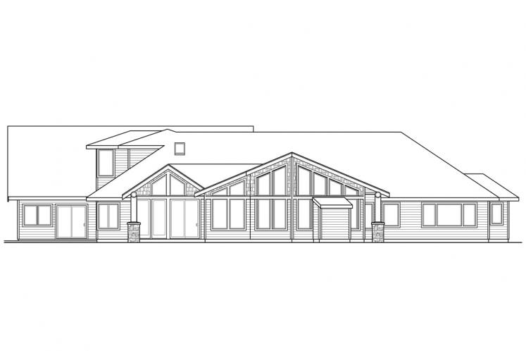 Lodge Style House Plan - Missoula 99305 - Rear Exterior
