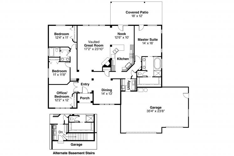 Ranch House Plan - Clearfield 99485 - 1st Floor Plan