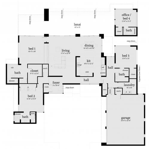 Contemporary House Plan - Cypress Cove 99609 - 1st Floor Plan