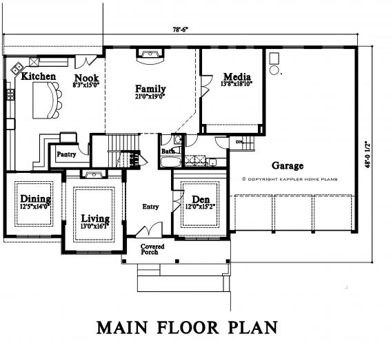 Traditional House Plan -  99610 - 1st Floor Plan