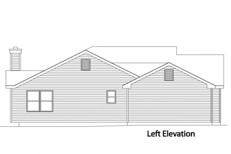 Ranch House Plan -  99616 - Left Exterior