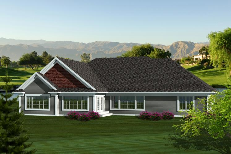 Traditional House Plan -  99634 - Rear Exterior