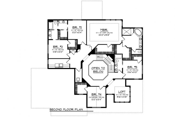Modern House Plan -  99649 - 2nd Floor Plan