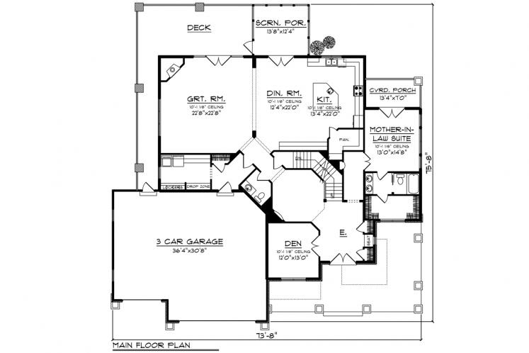 Prairie House Plan -  99649 - 1st Floor Plan