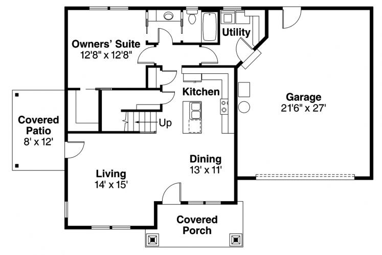 Country House Plan - Spangler 99797 - 1st Floor Plan