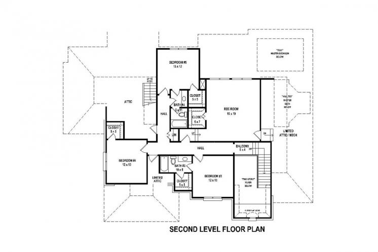 Traditional House Plan -  99800 - 2nd Floor Plan