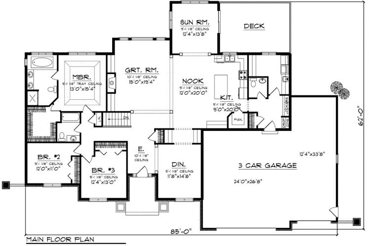 Ranch House Plan -  99897 - 1st Floor Plan