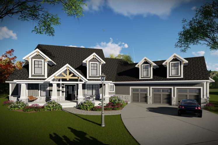 Lodge Style House Plan -  13779 - Front Exterior