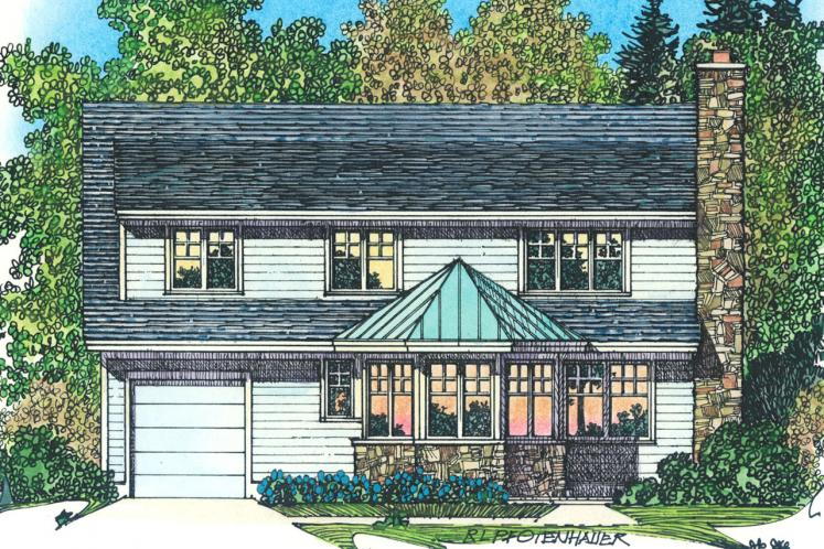 Traditional House Plan -  64526 - Rear Exterior