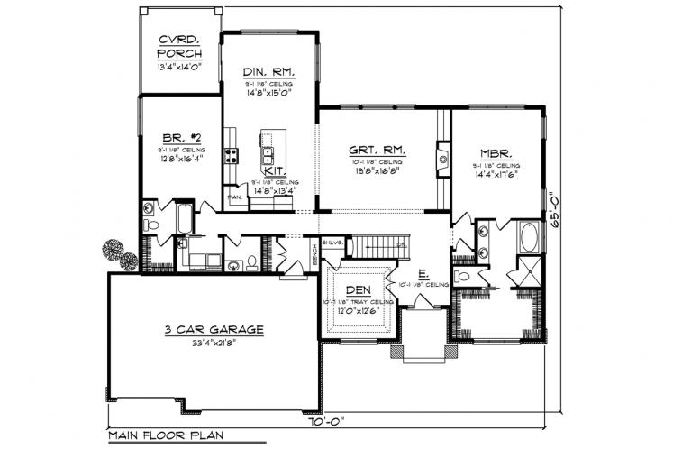 Ranch House Plan -  69396 - 1st Floor Plan