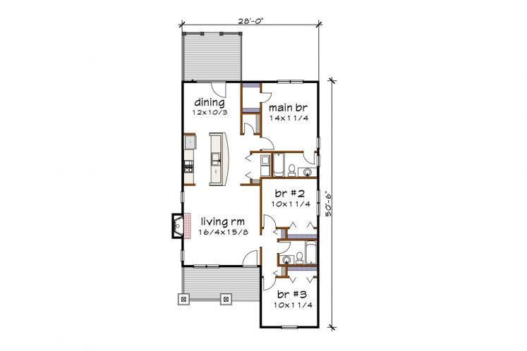 Bungalow House Plan -  86393 - 1st Floor Plan