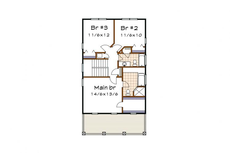 Country House Plan -  90592 - 2nd Floor Plan