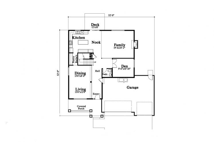 Craftsman House Plan -  88743 - 1st Floor Plan