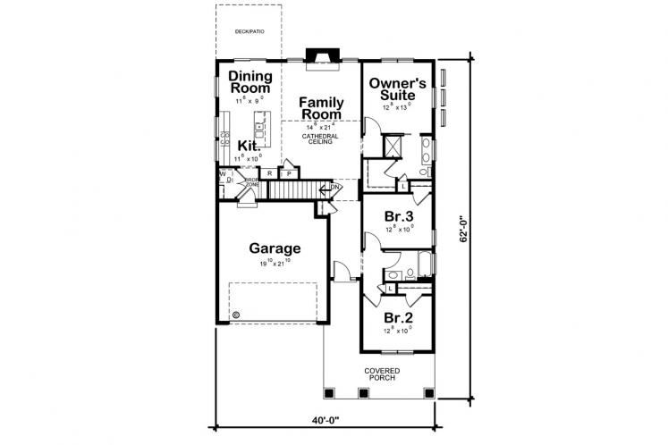 Bungalow House Plan - Kendra Springs 88261 - 1st Floor Plan