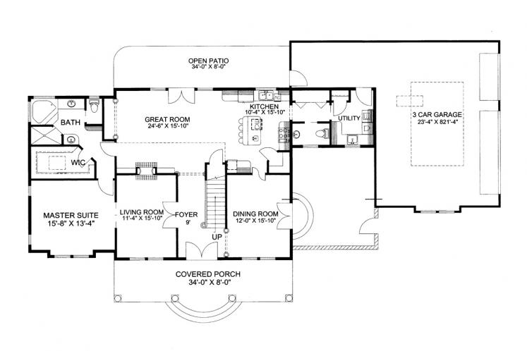 Southern House Plan -  78962 - 1st Floor Plan