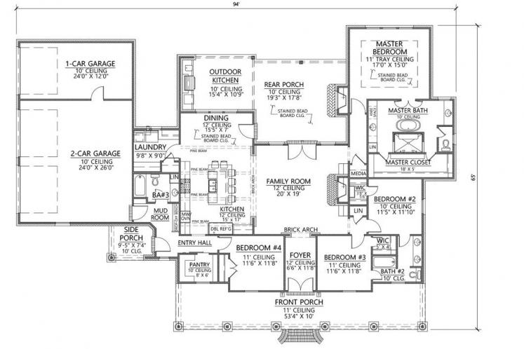 Classic House Plan - Heritage 76582 - 1st Floor Plan