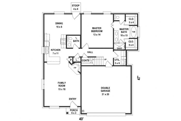 Ranch House Plan -  33857 - 1st Floor Plan