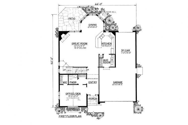 Colonial House Plan -  64526 - 1st Floor Plan