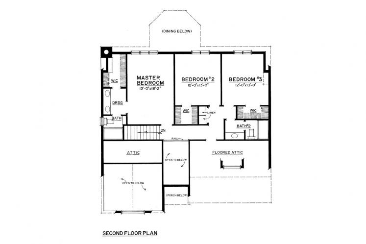 Traditional House Plan -  64526 - 2nd Floor Plan