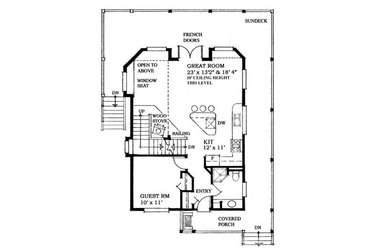 Craftsman House Plan -  35335 - 1st Floor Plan