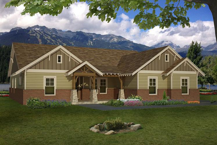 Craftsman House Plan -  67565 - Front Exterior